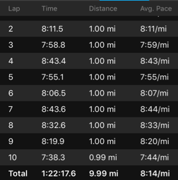 Reston 10 Miler Garmin Data