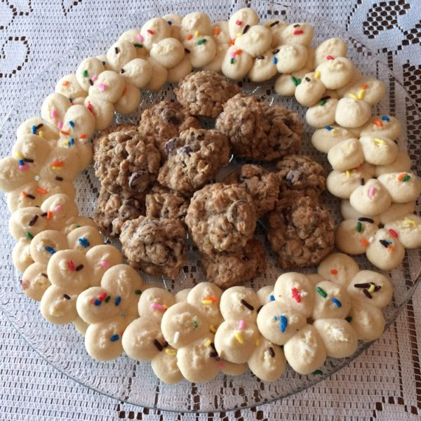 Butter spritz cookies and oatmeal chocolate chip cookies